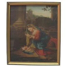 Old Lithograph in Colour - Mary & Child