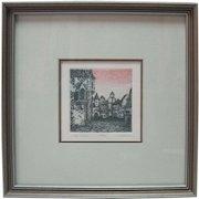 """Framed """"Village Corner"""" Etching 67/100 - J. Elizabeth Fischer"""