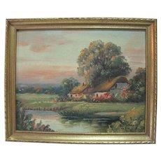 """Devon Cottage"" by A. Spencer - Oil on Board"