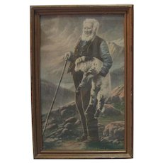 "Lithograph in Colour on Paper ""Sheepherder"" - W. A. Carson"