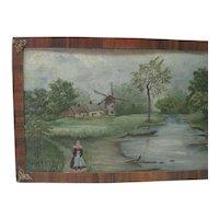 Holland Late 1800's Oil on Tin w/Ornate Tiger Oak Frame