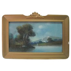 Antique Late 1800's Oil on Paper Signed Landscape Painting