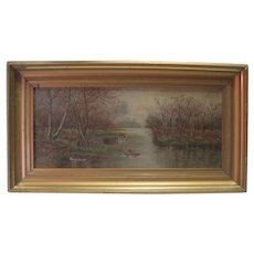 Antique - Oil on Canvas Late 1800's - Lady Rowing/Lake Scene