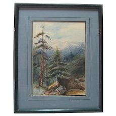 Prof. Framed - Lucille Langston - Watercolor - Mountain Scene