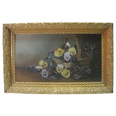 Old - Oil on Board - Pansies Still Life w/Ornate Gold Gilt Frame