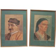Pair of Signed Watercolors - Man & Woman