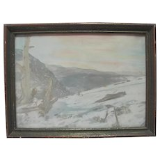 Lithograph in Color - Mountain/Lake Landscape