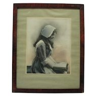 C. 1912 Celebrity Art Co. Boston - Nurse Reading Print