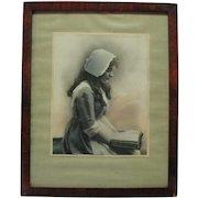 C. 1912 Celebrity Art Co. Boston - Nurse Reading Print