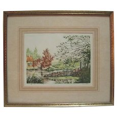 "Genuine Etching by Martin - ""The Dam"""