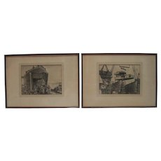 Seth Hoffman 1945 Original Pair of Monoprints US Navy