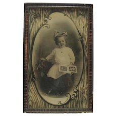Late 1800's - Framed B & W Photo Print - Little Girl