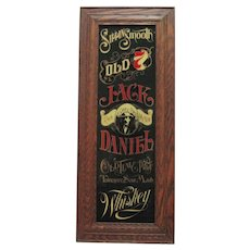 Old Jack Daniels Whiskey Glass Advertisement Sign w/ Oak Frame