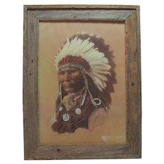 "Framed 1976 Lithograph in Colour - Hans P. Luetcke - ""Louis - Son of Chief Sitting Bull - Sioux"""