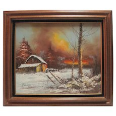 Framed J. Tulare Oil Painting on Canvas - Winter Scene
