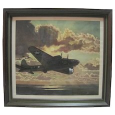 "C. 1943 The Studebaker Corp. ""Flying Fortress"" Lithograph by Frederic Tellander"