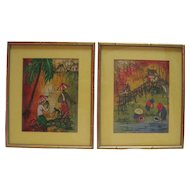 Pair of Signed Paintings on Linen - Framed and Matted