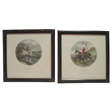 "Set of (2) 1902 Engravings ""Drawn Blank"" & ""A Flying Leap"" - W.J. Shayer"