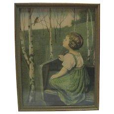 1925 Borin Chicago Print - Little Girl Whistling w/Bird