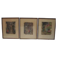 Set of (3) Watercolors of New Orleans by N. Luckow