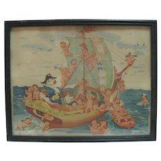 Framed Vintage Swan Soap Print - Swanny & Swan Babies on Ship