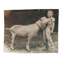 Late 1800's Original B&W Photo - Boy w/Billy Goat