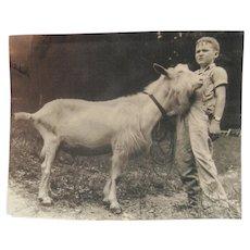 Late 1800's Original B&W Photo - Boy w/Billy Goat