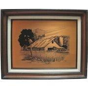 James Burkhart Copper Etching Farm w/Trees - 136/1600