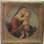 1490-1510 Old Masters Oil on Canvas Madonna w/Child & Early 1800's Chromolithograph