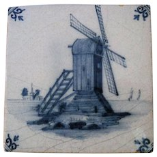 Very Old Pottery Tile - English Delft