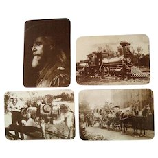 Vintage Collection of (4) B&W Western/Railroad Postcards