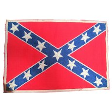 "Very Old Confederate Embroidered 13 Star Flag - 6"" x 8 7/8"""