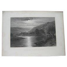 Tintern Abbey-Moonlight on Thwye - B. W. Leader Lithograph