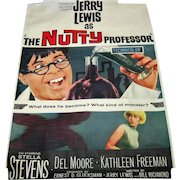 """Original Jerry Lewis """"The Nutty Professor"""" - Poster Signed"""