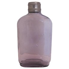 Antique Purple Flask Bottle w/Metal Cap