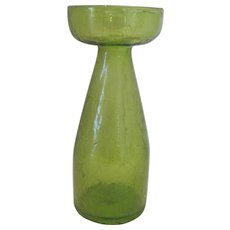 "Beautiful Olive Green Crackle Glass Vase - 8 1/4"" Tall"