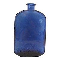 """Vintage Cobalt Blue Floral Motif Base Bottle - 7"""" Tall"""