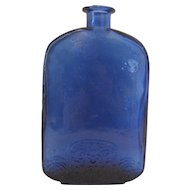 "Vintage Cobalt Blue Floral Motif Base Bottle - 7"" Tall"