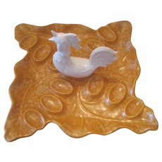 Calif USA 515 Deviled Egg Ceramic Dish w/ Rooster