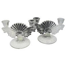 Pair of Pressed Glass Candleholders w/ Fan Design