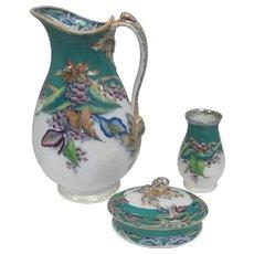 Set of Porcelain Pitcher/Vase/Compote w/Lid