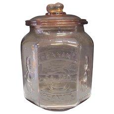Vintage Planters Pennant Salted Peanuts Pink Depression Glass - Mr Peanut Cookie Jar