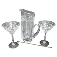 "Elegant Waterford ""Marquis"" Pitcher & (2) Martini Glasses w/Stirrer"