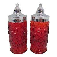 Pair of Pressed Glass Ruby Red Sunburst Salt & Pepper Shakers