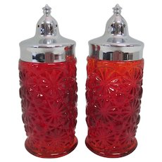 Pair of Pressed Glass Ruby Red Sunburst Salt & Pepper Shakers