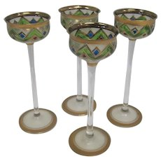 Rare Set of (4) Edwardian Glass Little Goblets