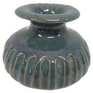 Antique Pottery Vase - Blue/Green Marked V w/S Inside