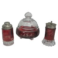 Set of (3) Ruby Red Crystal Compote/Shakers