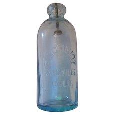 Aqua - Hutch Blob-Top Soda Bottle 1883-1889 - F. Schmidt - Leadville, Colorado