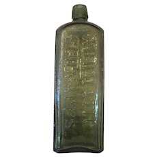 Udolpho Wolfe's Schiedam Aromatic Schnapps Bottle - American Version - Olive Green Bottle